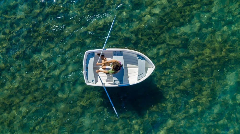 Aerial View of Backwater Classic White Boat